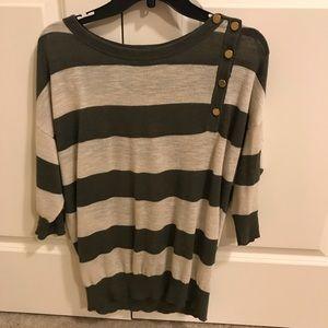 Ann Taylor medium olive and cream stripe shirt